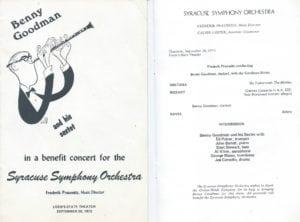 Benny Goodman Concert Leaflet