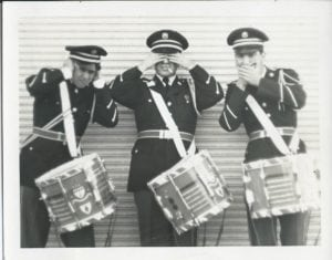 Joe Corsello with Three Members of Drum Line 1st Army Band 1968